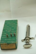 VINTAGE VETERINARY SYRINGE 20 CC WITH BOX RAMSON INSTRUMENT CHROME 8in LONG