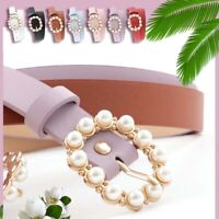 Fashion Ladies Round Pin Buckle Pearl Belts Women Solid PU Leather Skinny Belt ▔
