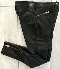 SUPERDRY CASCADE PANT Lederhose Damen Leather Pants Black Gr.XS NEU mit ETIKETT