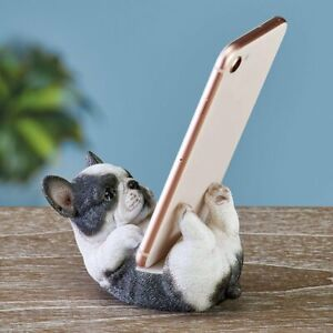 Adorable Black & White French Bulldog Puppy Cell Phone Holder Desk Stand Statue