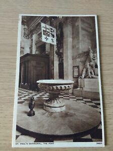 Vintage Unused Postcard Of The Font, St Paul's Cathedral, London.
