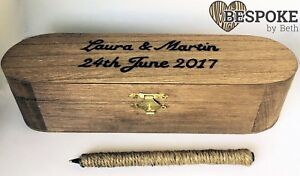 Personalised Engraved Wooden Pen Box Twine Pen Wedding Guest Book Signing Gift