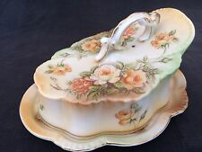 VINTAGE CERAMIC ROSE MOTIF CHEESE BELL & PLATE  GILT EDGED UNKNOWN MAKER