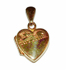 Fully Hallmarked 9ct Yellow Gold Patterned Heart Locket With Inserts