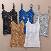 Women Ladies Sequined Bling Shiny Tank Tops Sleeveless T Shirts Blouse Vest New