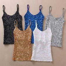 Women Sequin Vest Bling Spaghetti Strap Singlet Glitter Slim Camisole Tank Top