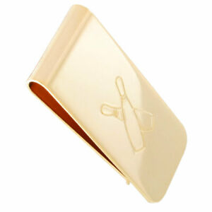 """Ky & Co Mens Money Clip Yellow Gold Tone Bowling Pins Made USA 2"""""""
