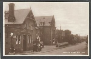 Postcard Gullane nr North Berwick the Bissets Hotel petrol pump posted 1946 RP