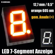 "3 Stück LED 7-Segment Ziffernanzeige 12,7mm 0,5"" orange 605nm gem. Anode (+)"