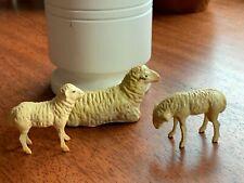 Vintage German Putz Sheep & Lamb Composition Stick Leg Nativity Farm Christmas