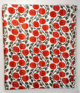New Indian Cotton Bedding Screen Printed Blanket Coverlet Kantha Quilt Bedspread