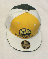 MENS BASEBALL HAT CAP yellow wool sonics logos NE NEW ERA 7 1/4 59FIFTY seattle