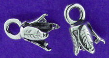 ONE STERLING SILVER PINCH END, IDEAL FOR LEATHER CORD, 2 MM DIAMETER, CLASP