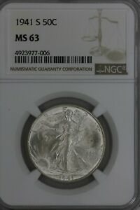 1941-S .50  NGC   MS 63   Walking Liberty, Lady Liberty Half,
