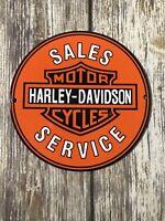 """VINTAGE 6"""" HARLEY-DAVIDSON MOTORCYCLE DEALER SALES SERVICE PORCELAIN ENAMEL SIGN"""