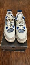 """2006 Nike Air Jordan Retro 4 """"Military Blue"""" Off White/Grey Youth Shoes Size 7Y"""