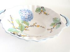 ROYAL ALBERT CROWN CHINA TRINKET DISH Oval Shaped with HANDLES Blue Floral