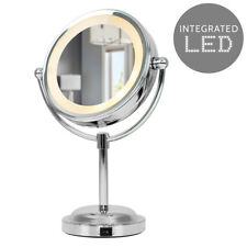 Round Silver Illuminated LED Free Standing Make Up Vanity Dressing Table Mirror
