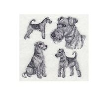 Completed Embroidery Sketch Style Airedale Terrier Dog