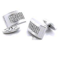 Micro Pave Set Mens Jewelry Cz Cubic Zirconia Silver Cufflinks CUFFS Ring New