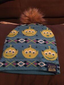 TOY STORY Blue Knit WINTER BEANIE HAT Aliens FURRY POM POM One Size (Adults)