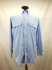 Orvis Mens Long Sleeve 2 Pockets w/Buttons Blue Houndstooth Size Medium