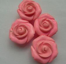 4 sculpté rose Perles, rose turquoise gemme, 20 mm. Fabrication de Bijoux/Artisanat