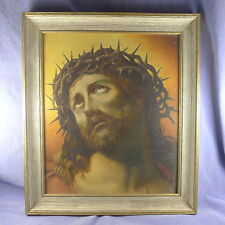 Jesus Christ hand painted oil on panel  ~  painting crown of thorns