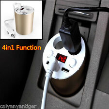 4IN1 LED DISPLAY 2 USB 12-24V DUAL Cup CHARGER CIGARETTE SOCKET LIGHTER GOLDEN