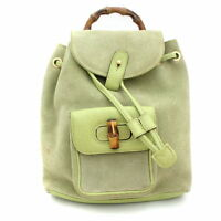 1f63f056d1d Gucci Bamboo Mini Backpack Shoulder Day Bag Green Suede Leather Used Ex++
