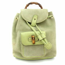 Gucci Bamboo Mini Backpack Shoulder Day Bag Green Suede Leather Used Ex++