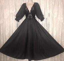 VTG Princess Design Black OLGA Nightgown Negligee Gown 3/4 Sleeves M L 94270