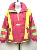 Retro Obermeyer Ski Jacket Women's Size 8 Medium Neon Gore Tex Anorak Hooded 80s