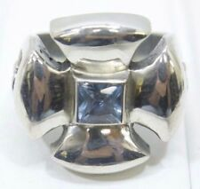 King Baby Iron Cross Sky Blue Stone Sterling Silver 925 Ring Size 10.25 - (#13)
