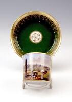 ALT WIEN VEDUTEN TASSE CUP WITH SAUCER CUP SPINNERIN AM KREUZ UM 1840 (840) TOP