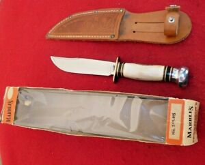 Marbles Gladstone USA MINT IN BOX! stag EXPERT fixed blade knife & sheath-1950's