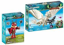 Playmobil Snotlout with Flight Suit and Light Fury with Baby Dragon and Children