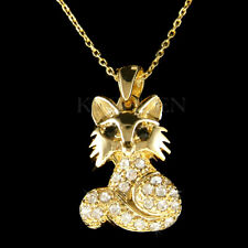 "~Fox~ made with Swarovski crystal Wildlife Animal Lover Charm 18"" Chain Necklace"