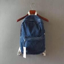 Vintage Distress Casual Denim Backpack Rucksack School Travel Bag Deep Blue JX