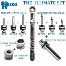 Dental Implant Differential Torque Wrench Ratchet Full Set Drivers 2 Heads