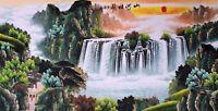 ORIGINAL ASIAN FINE ART CHINESE SANSUI WATERCOLOR PAINTING-Mountain&Waterfall