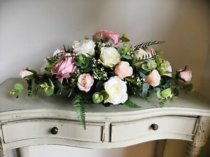 "Dusty Pink, Blush Pink & Ivory Cream Silk Rose Wedding Table Arrangement (24"")"