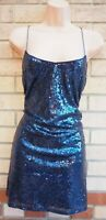 BOOHOO NAVY BLUE SEQUIN STRAPPY CAMISOLE SLIP SHIFT PARTY COCKTAIL DRESS 10 S