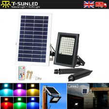 50W Solar LED RGB Floodlights Spotlights Security Garden Outdoor Auto Changing