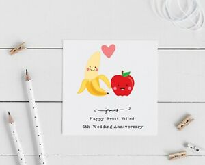 Personalised 4th wedding anniversary card, fruit, husband, wife, special couple