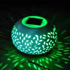 CERAMIC STONE COLOUR CHANGING LED SOLAR POWERED LIGHT TABLE GARDEN OUTDOOR LAMP