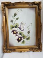 """Butterfly and Pansies Original Art Painting frame 14 by 11 """"Virginia Wells 81"""""""