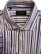 DUCHAMP LONDON Shirt Mens 16.5 L White - Blue Stripes
