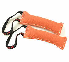 "Bundle of 2 Orange French Linen Dog Tug Toy (3"" X 10"") 1 Handles Redline K9"