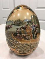 "Antique SATSUMA  8"" Geisha Egg Hand Painted Chinese Oriental Porcelain"